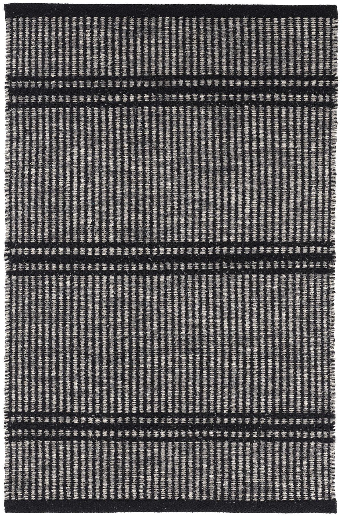 Malta Black Woven Wool Rug