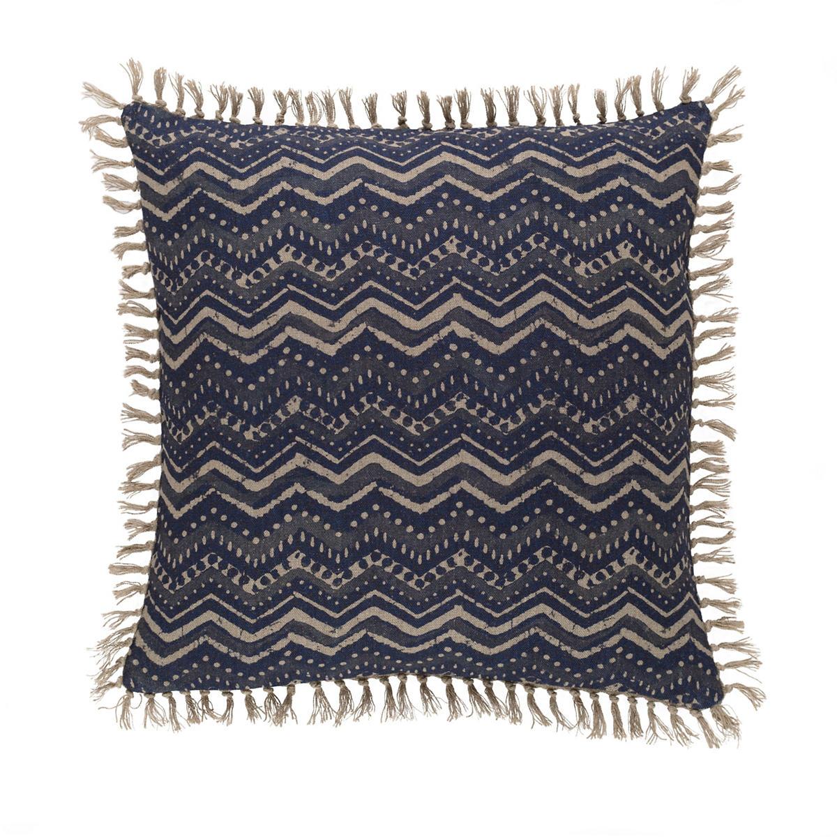 Marianna Linen Greek Key/Chevron Decorative Pillow