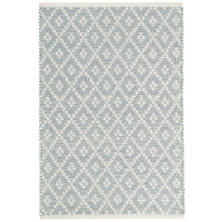 Marled Diamond Light Blue Woven Cotton Rug