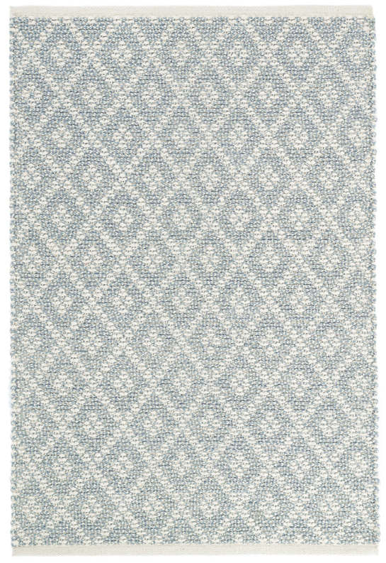 Marled Diamond Light Blue Woven Cotton Rug
