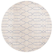 Massena Blue Hand Knotted Wool Rug Round