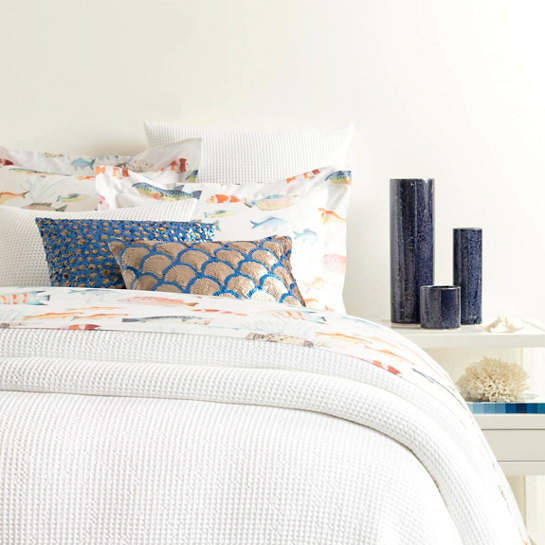 Bubble White Matelassé Coverlet