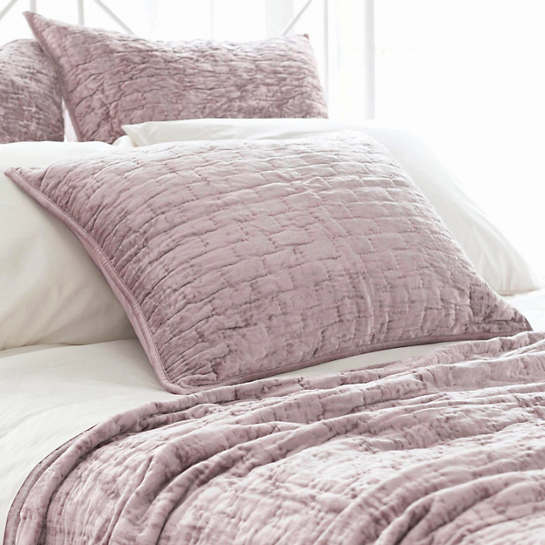 Matte Velvet Dusty Plum Quilted Sham
