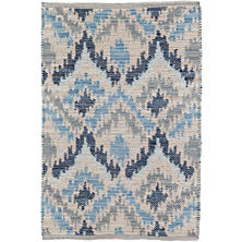 Medina Blue Jacquard Woven Wool Rug