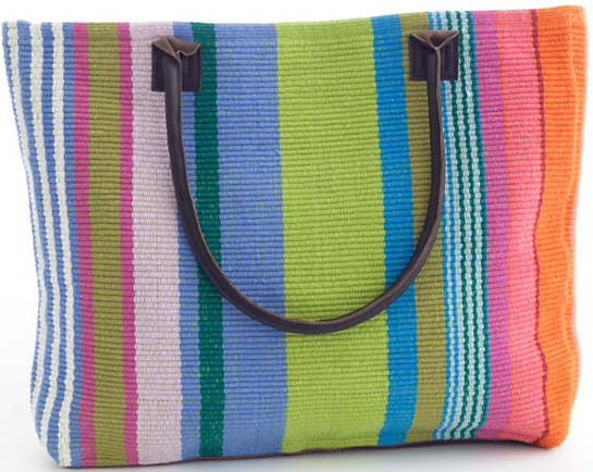 Mellie Stripe Woven Cotton Tote Bag