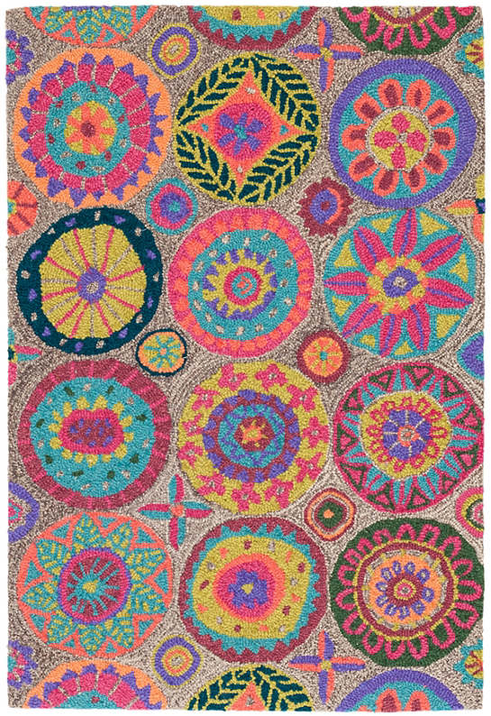 Merry Go Round Bright Micro Hooked Wool Rug