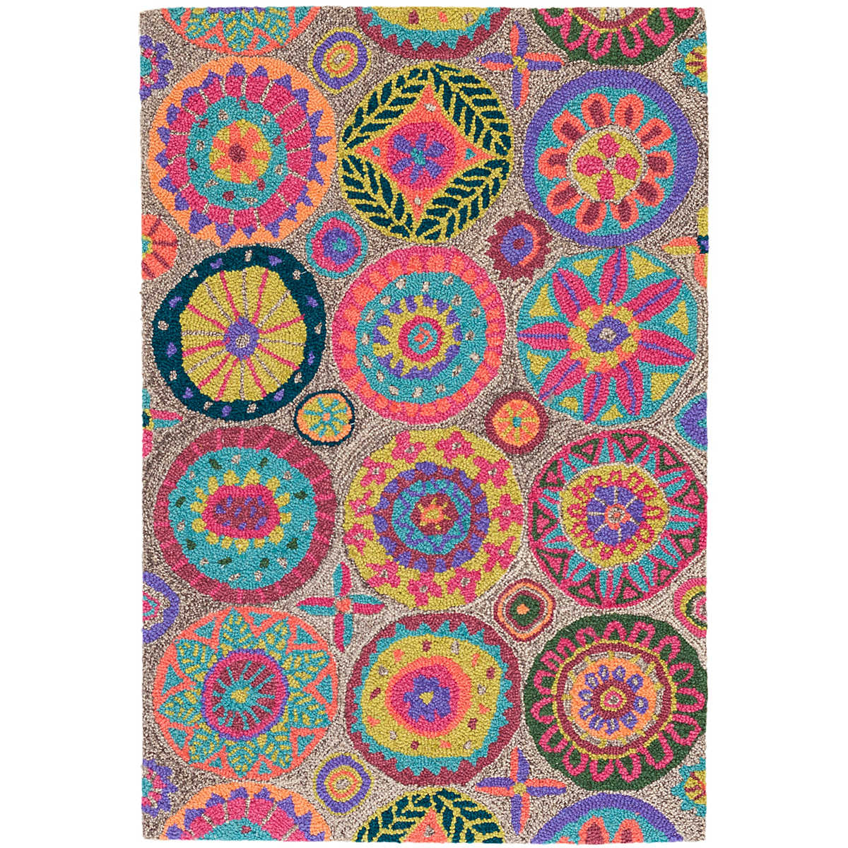 Bright Outdoor Area Rugs: Merry Go Round Bright Micro Hooked Wool Rug