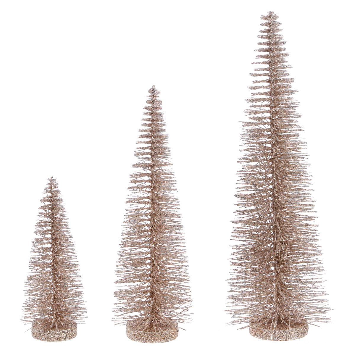 Metallic Bottle Brush Trees/Set Of 3