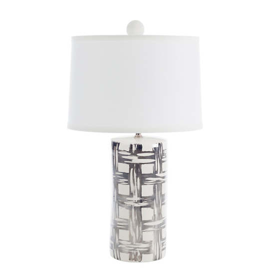Metallic Pewter Rattan Medium Cylinder Table Lamp