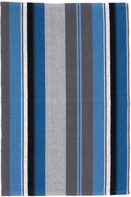 Midnight Stripe Woven Cotton Rug