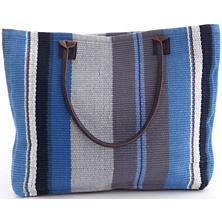 Midnight Stripe Woven Cotton Tote Bag