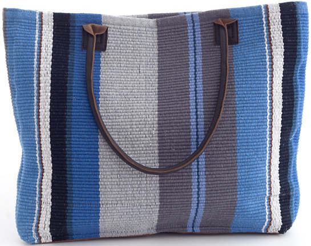 Midnight Stripe Woven Cotton Tote Bag