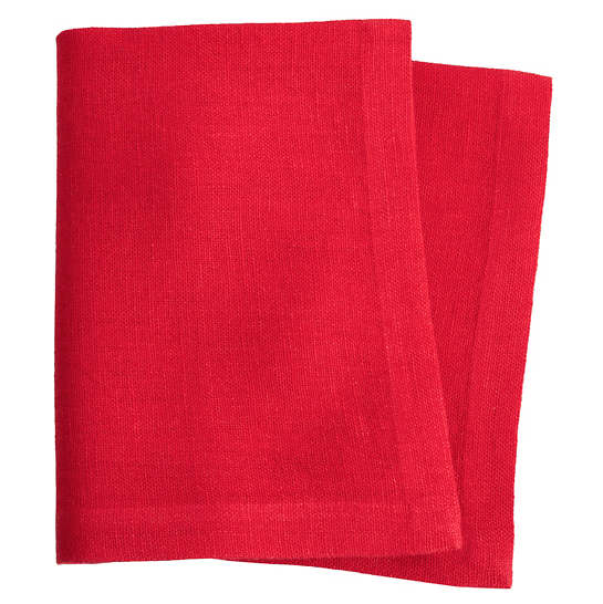 Stone Washed Linen Red Napkin Set