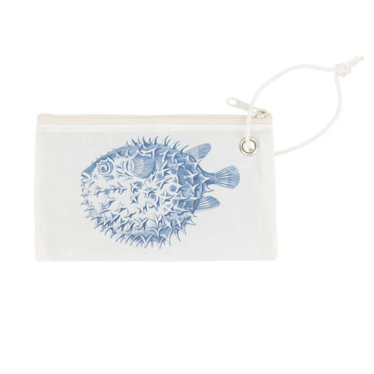 Navy Pufferfish Wristlet