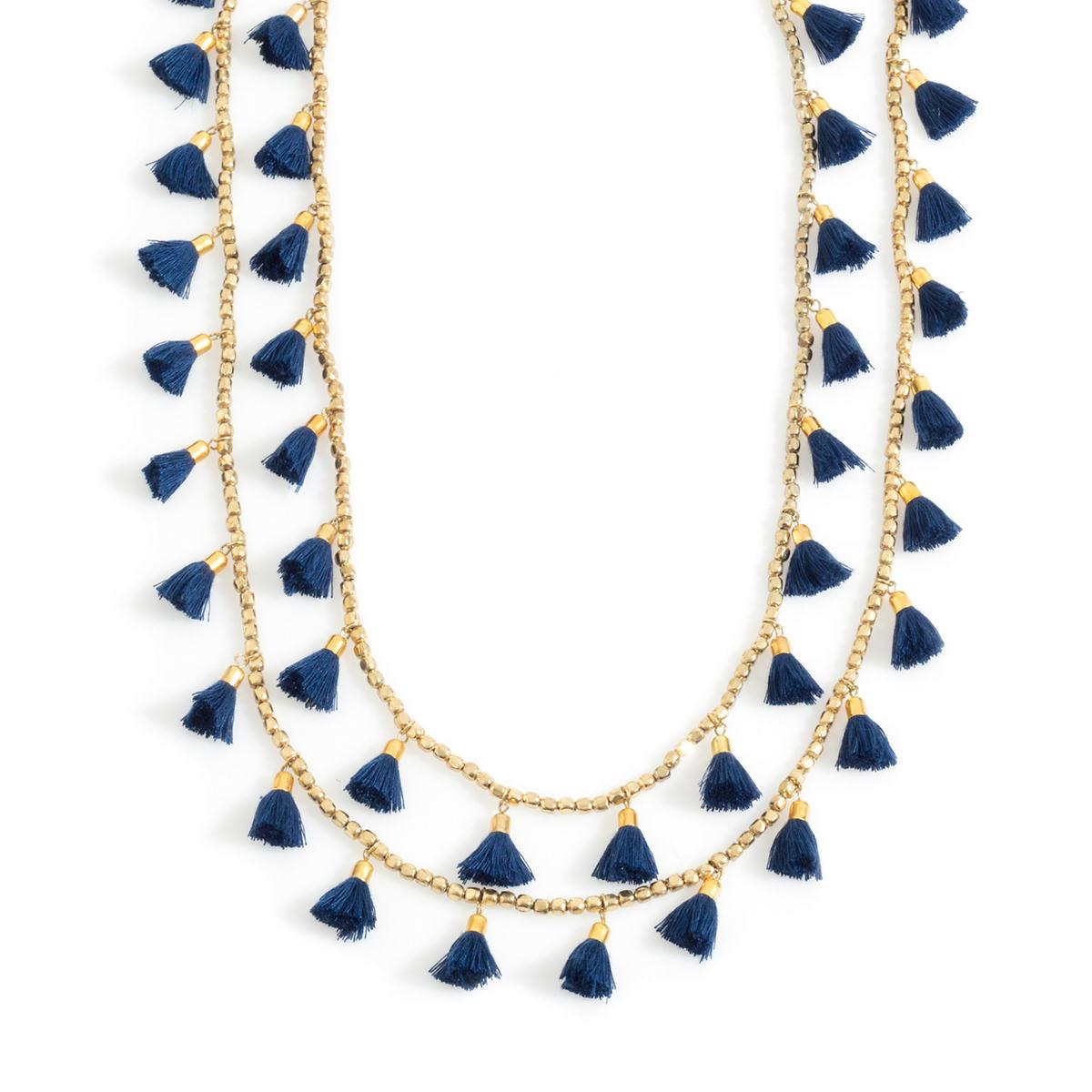 Navy Staycation Tassel Necklace
