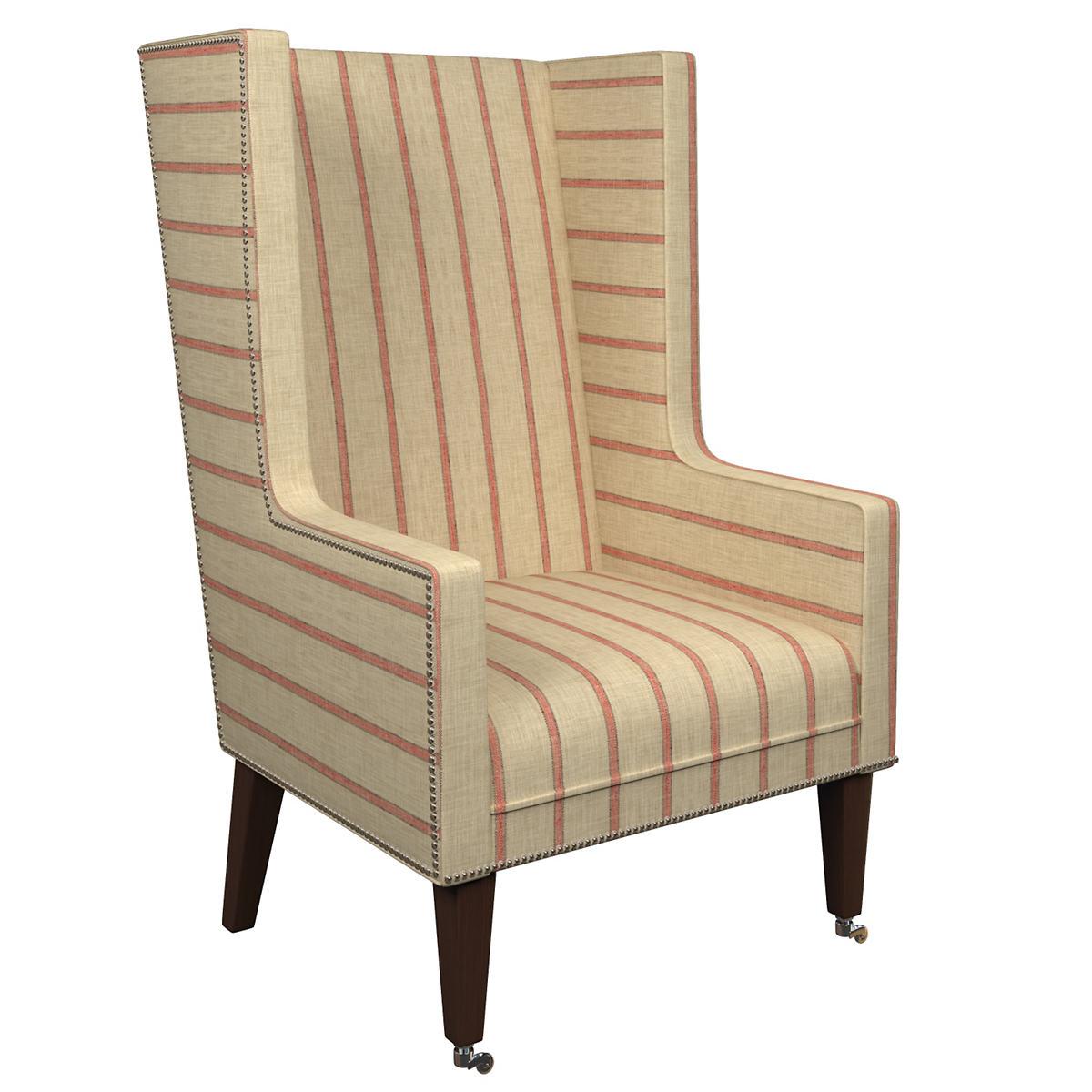 Glendale Stripe Brick/Brown Neo-Wing Chair