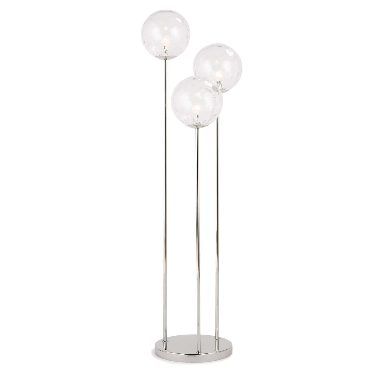Nickel Globe Triple Floor Lamp
