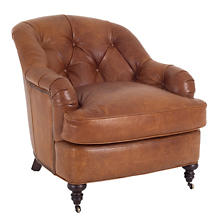 Madrid Chestnut Leather Norfolk Chair