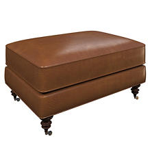Madrid Chestnut Leather Norfolk Ottoman