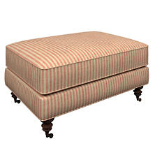 Adams Ticking Brick Norfolk Ottoman