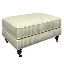 Adams Ticking Light Blue Norfolk Ottoman