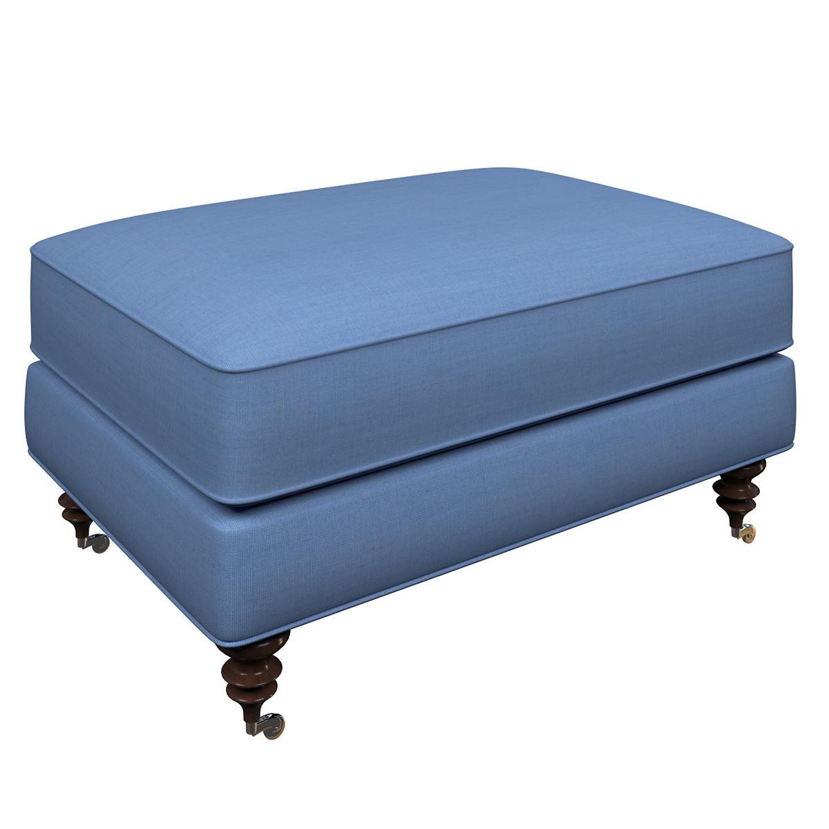 Estate Linen French Blue Norfolk Ottoman
