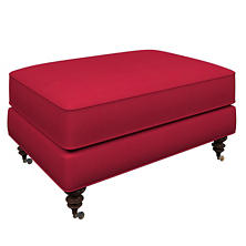 Estate Linen Red Norfolk Ottoman