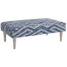 Healy Blue Tapered Cerused Oak Leg Rug Ottoman