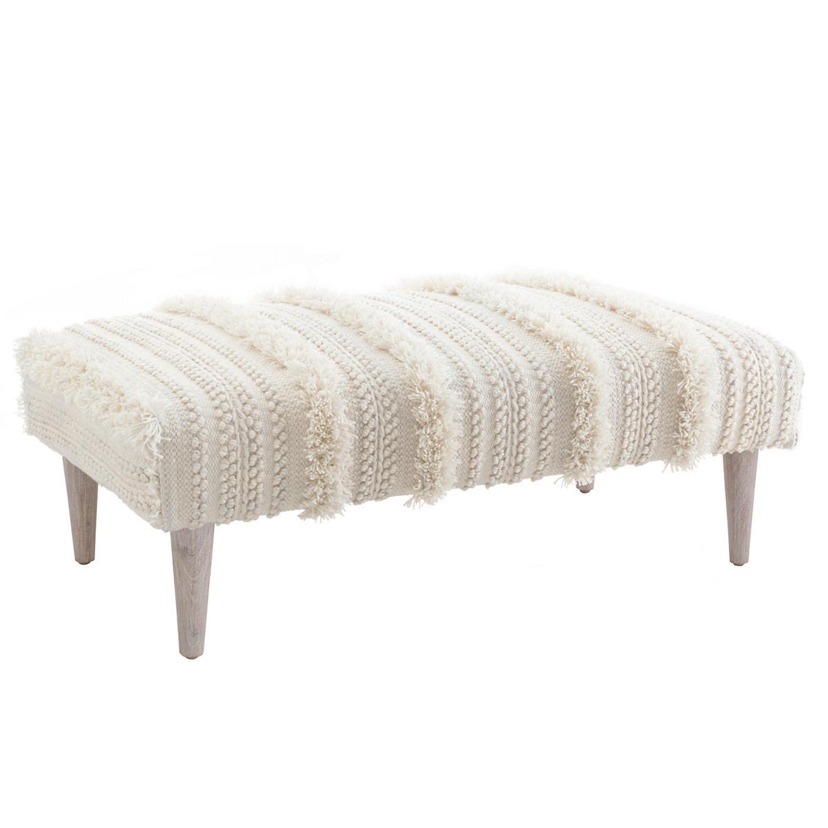 Zhara Stripe Ivory Tapered Cerused Oak Leg Rug Ottoman