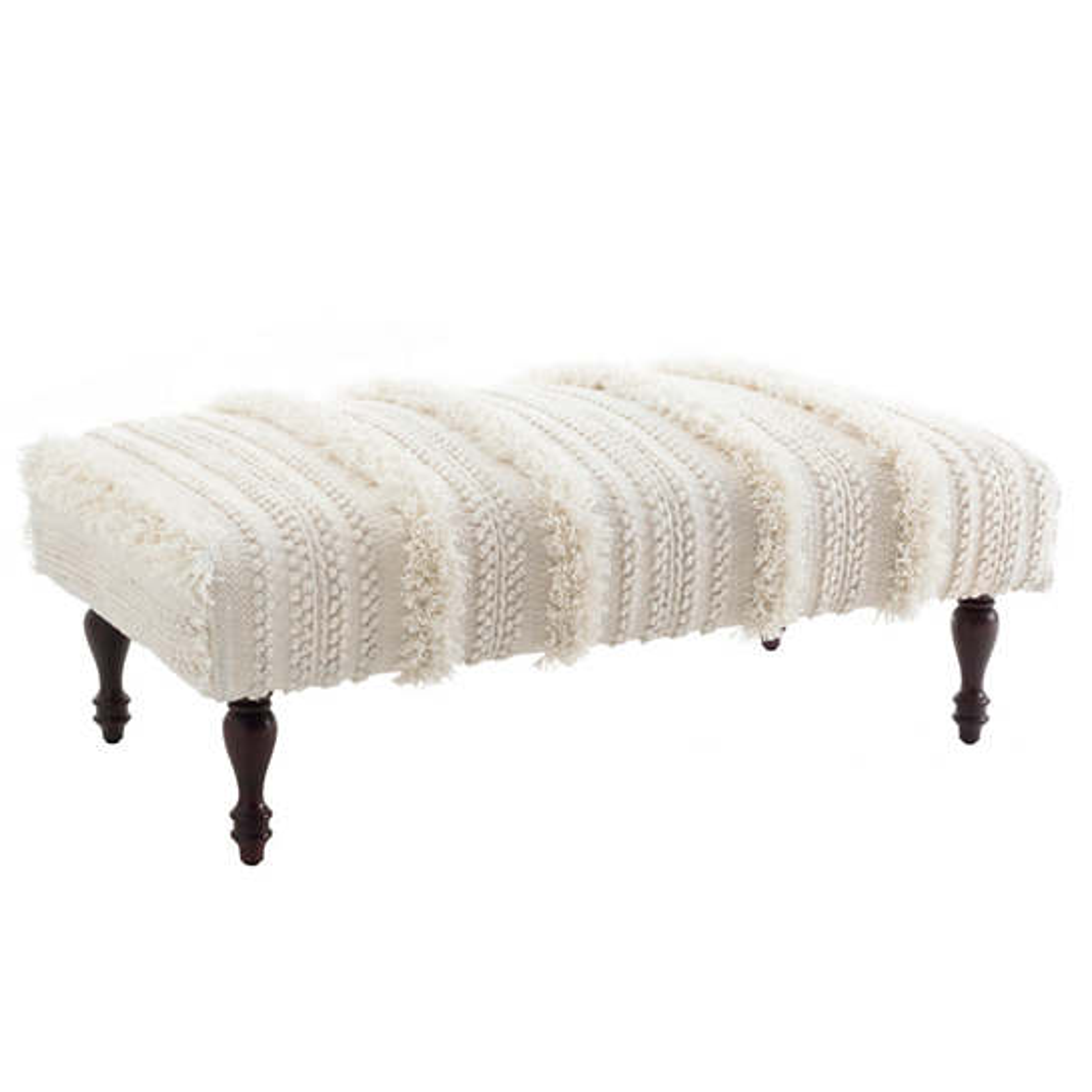 Zhara Stripe Ivory Turned Tobacco Rug Ottoman