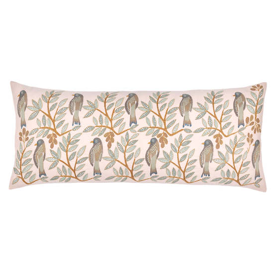 Oiseaux Embroidered Decorative Pillow