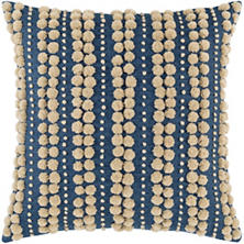 Omni Embroidered Denim/Natural Decorative Pillow