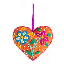 Orange Embroidered Heart Ornament