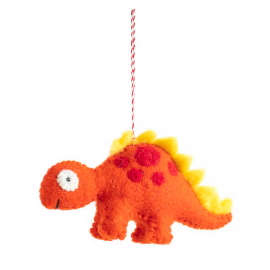 Orange Stegosaurus Ornament