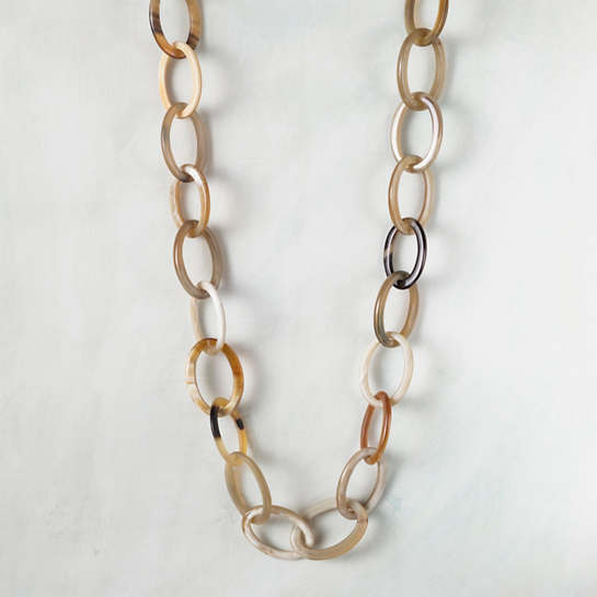 Oval Link Horn Necklace