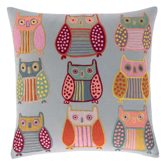 Owls Embroidered Decorative Pillow