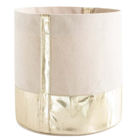 Glam Canvas Natural/Gold Bin