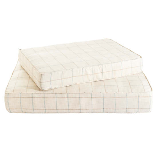 Chatham Tattersall Light Blue/Natural Dog Bed