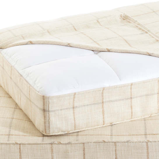 Chatham Tattersall Natural/Grey Dog Bed Cover