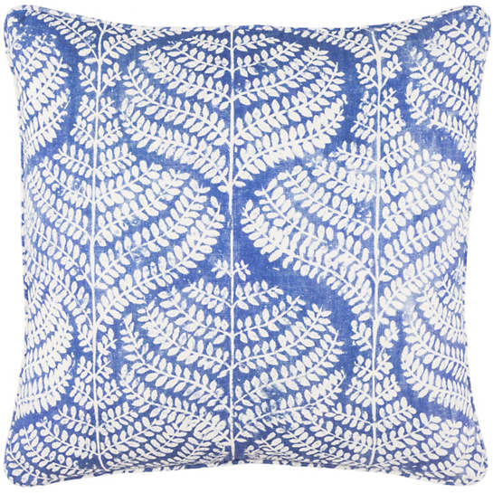 Flora Linen Blue Decorative Pillow