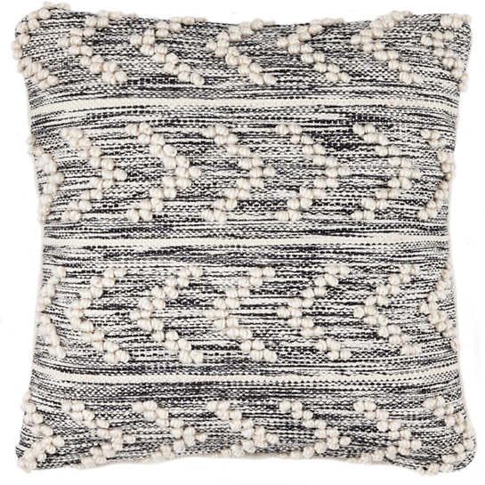 Hobnail Herringbone Black Indoor/Outdoor Decorative Pillow