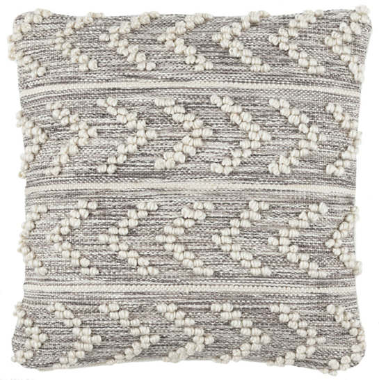 Hobnail Herringbone Grey Indoor/Outdoor Decorative Pillow
