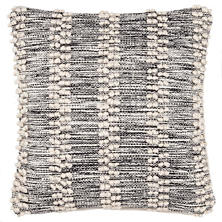Hobnail Stripe Black Indoor/Outdoor Decorative Pillow