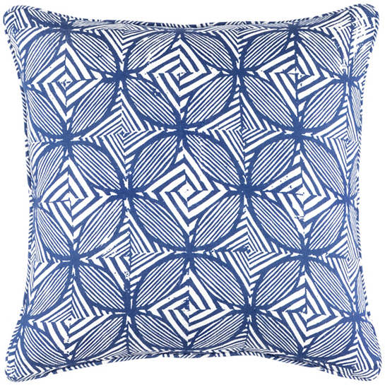 Labyrinth Linen Blue Decorative Pillow