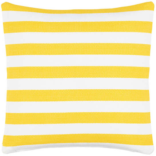 Trimaran Stripe Daffodil/White Indoor/Outdoor Decorative Pillow