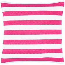 Trimaran Stripe Fuchsia/White Indoor/Outdoor Decorative Pillow