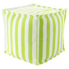Trimaran Stripe Apple/White Indoor/Outdoor Mini Pouf