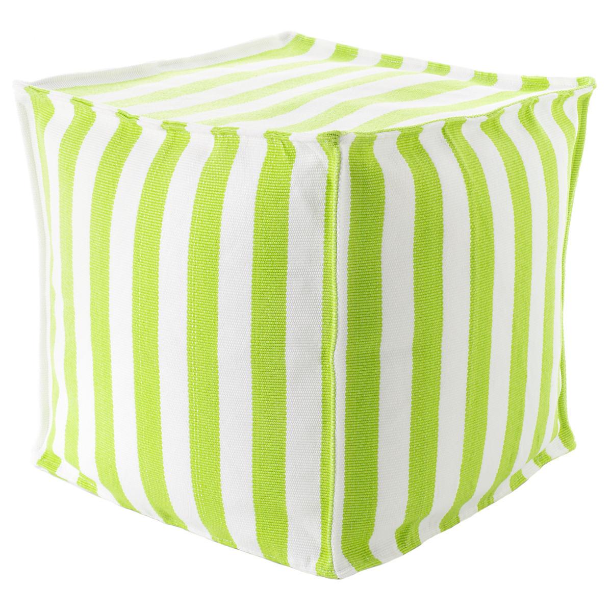 Trimaran Stripe Apple/White Indoor/Outdoor Mini Pouf