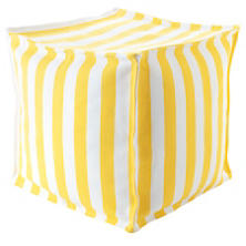 Trimaran Stripe Daffodil/White Indoor/Outdoor Mini Pouf