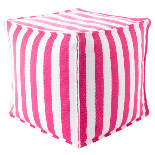 Trimaran Stripe Fuchsia/White Indoor/Outdoor Mini Pouf